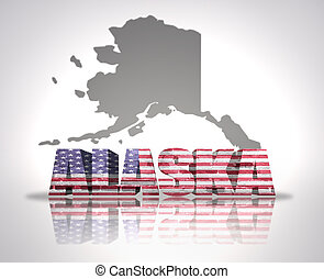 Alaska State - Word Alaska with National Flag of USA near...
