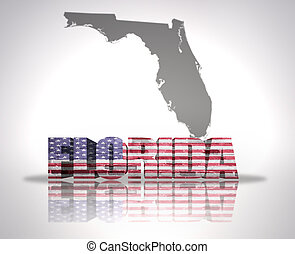 Florida State - Word Florida with National Flag of USA near...