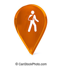 Outpatient Care - Glass GPS marker icon with white health...