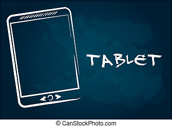 Hand drawing tablet on chalkboard,