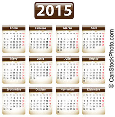2015 Spanish calendar - Brown calendar for 2015 year in...