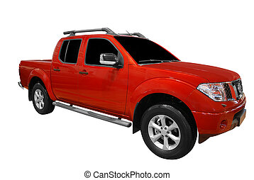 pick up truck - red pick-up truck isolated