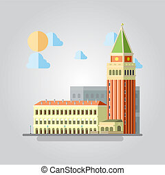 Flat design of Italian building cityscape illustration...
