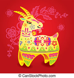 Chinese Color CNY sheep illustration in red blossom...