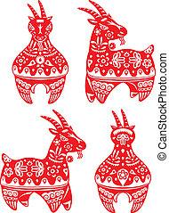 Year of Goat illustration set - Year of Goat design elements...