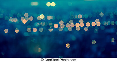panorama city blurring lights abstract circular bokeh on...