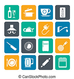 kitchen objects icons - Silhouette kitchen objects and...
