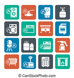 Household Gas Appliances icons - Silhouette Household Gas...