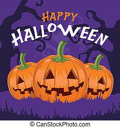 Happy Halloween pumpkins vector illustration