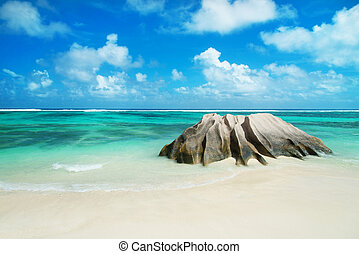 Panorama of Anse Source d'Argent  beach at Seychelles - nature b