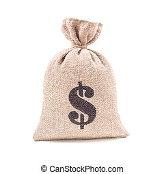 Sacking money bag isolated on white background - Sacking...
