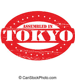 Assembled in Tokyo - Rubber stamp with text assembled in...