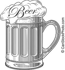 Beer in vintage engraving style - Vector illustration,...