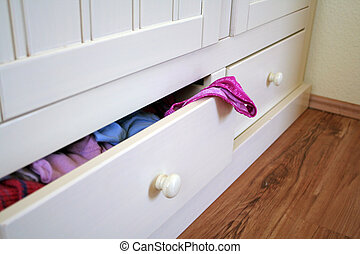 open drawer - white furniture with open drawer and...