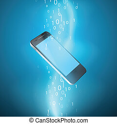 Stream of binary code with mobile phone