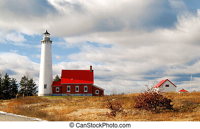 Tawas Panorama - The Tawas Point Lighthouse in Michigan