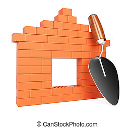 Bricks and trowel Construction concept isolated on white...