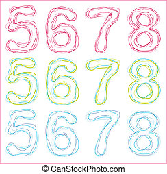 numbers from five to eight