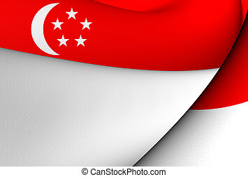 Flag of Singapore. Close Up.