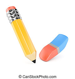 Pencil and eraser isolated on white background. 3d rendering...