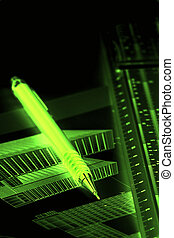 Architectural background - Green neon image of pen and ruler...
