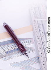 Architectural background - Close up of pen and ruler on...