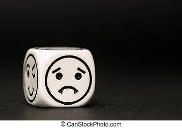 único, Emoticon, dados, triste, expressão,...