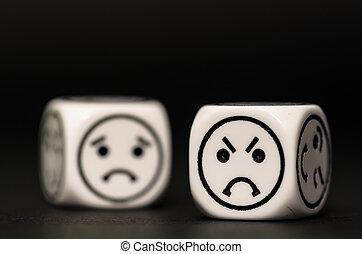 Emoticon, dados, zangado, triste, expressão,...