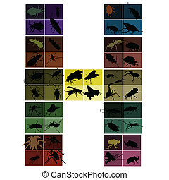 Bugs colorful silhouettes set