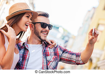 We are looking just great Side view of happy young loving...