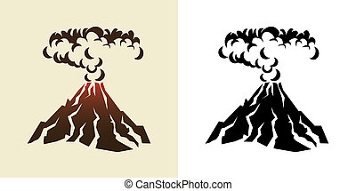 volcano - stylized illustration of a volcanic eruption with...