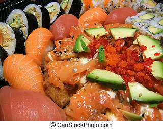Sushi platter - Closeup of sushi platter with salmon, tuna,...