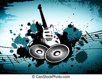 Grunge Music - cool wacky grunge Music background with music...