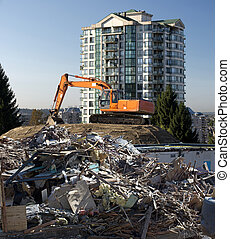 Bulldozer and building, construction site