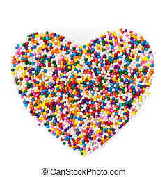 Sugar Sprinkles - Colorful Candy sprinkles heart shape...