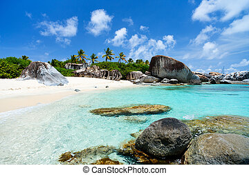 Picture perfect beach at Caribbean - Beautiful tropical...