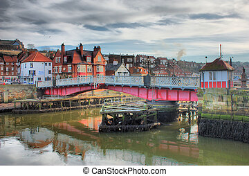 Whitby swing bridge in closed position