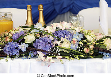 Celebratory table - Close up of beautifully laid tables at...