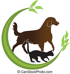 Cat and dog identity card icon vector logo design