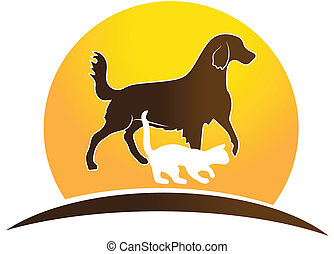 Logo cat and dog - Cat ,dog and sun icon logo design