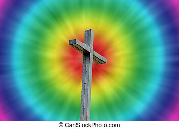 Psychedelic christian cross background - Tie dye christian...