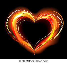 flaming heart - the heart of the red fire on a black...