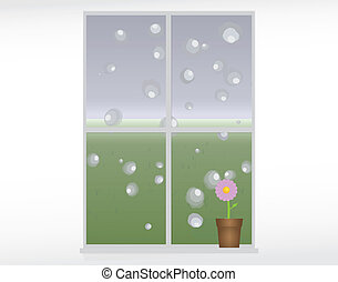 rainy day - vector illustration of rain drops on a window