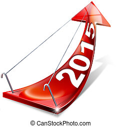 2015 Red Positive Arrow - Red arrow with year 2015 tending...