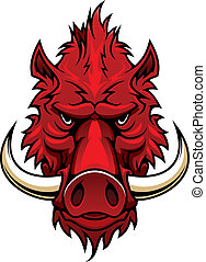 Red boar head mascot - Red boar head for tattoo, sport team...