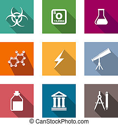 Flat science and education icons set