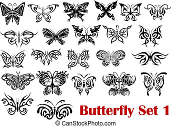 Butterfly silhouette icons - Set of ornate butterfly...