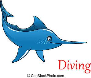 Cartoon swordfish character - Cartoon happy cute swordfish...