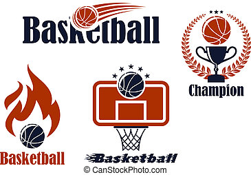 Basketball sport team emblems and symbols in retro style for...