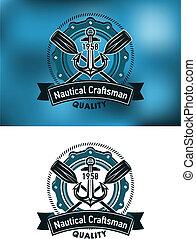 Nautical craftsman emblem with anchor, porthole, paddles and...